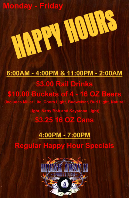 Hagerstown Nightclub, Restaurant Triple Happy Hours M-F