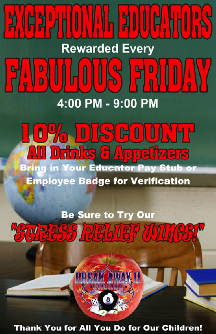Exceptional Educators Friday specials